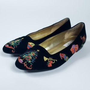 Kim Rogers 10 Black Velvet Holiday Christmas Flats
